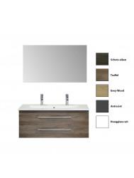 Badkamermeubelset Sanicare Q15 2 Laden (alle kleuren, spiegel optioneel)