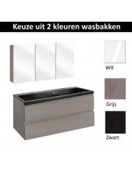Badmeubelset Differnz The Collection met Spiegelkast 100x43x61 cm (Wit, Grijs en Zwart)