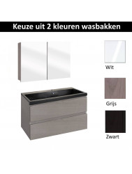 Badmeubelset Differnz The Collection met Spiegelkast 80x43x61 cm (Wit, Grijs en Zwart)