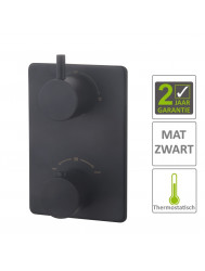 BWS Afbouwdeel Cemal Douche Thermostaat 2Weg Mat Zwart