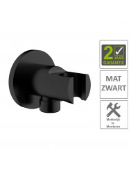"BWS Doucheaansluiting Luxe Rond Met Opsteek 1/2"" Messing Mat Zwart"