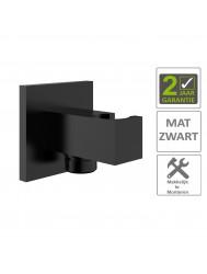 "BWS Doucheaansluiting Luxe Vierkant Met Opsteek 1/2"" Messing Mat Zwart"
