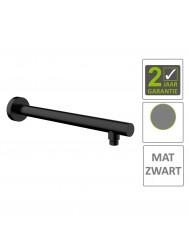 BWS Douchearm Rond Muurbevestiging 45cm Mat Zwart