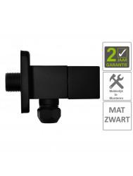 BWS Hoekstopkraan Mika Square 3/8x10 Inclusief Rozet Mat Zwart