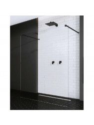 BWS Vrijstaande Inloopdouche Pro Line Helder Glas met Twee Stabilisatiestangen Mat Zwart