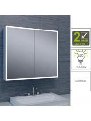 BWS LED Spiegelkast Aluminium Quatro Met Rand Verlichting 80x70x13 cm