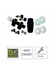 BWS Radiator Onderblok Haaks Links Mat Zwart (Voor midden aansluiting)