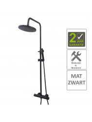 BWS Regendouche Opbouwset Thermostatisch 20cm Mat Zwart