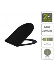 BWS Toiletzitting Vera Shade Fit Met Deksel Met Soft Close Mat Zwart