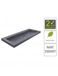 BWS Wastafel Hardsteen 100x46x5 cm 2 Kraangaten Mat Zwart
