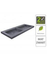 BWS Wastafel Hardsteen 120x46x5 cm 0 Kraangaten Mat Zwart