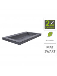 BWS Wastafel Hardsteen 60x46x5 cm 1 Kraangat Mat Zwart