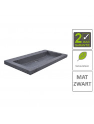 BWS Wastafel Hardsteen 80x46x5 cm 0 Kraangaten Mat Zwart