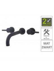 BWS Wastafelkraan Cemal Afbouwdeel 2Knops Mat Zwart