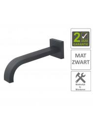 BWS Wastafelkraan Uitloop Vierkant 22 cm Mat Zwart
