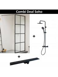 Combi Deal SOHO Inloopdouche Mat Zwart