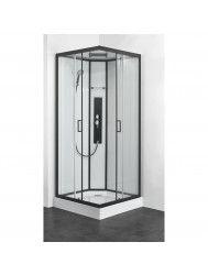 Douchecabine Allibert Uyuni 225x90x90 cm Vierkant Mat Zwart Schuifdeuren 4mm Helder Glas