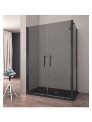 Douchecabine Lacus Giglio Black 70x190 cm Mat Zwart Profiel 6mm Rookglas (2 zijwanden)