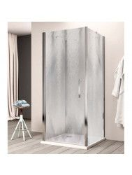 Douchecabine Lacus Giglio Fox Eéndelig 90 cm Chinchilla Glas Aluminium Profiel (2 zijwanden)