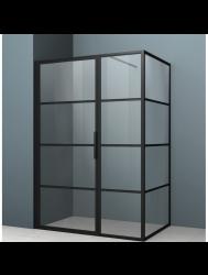 Douchecabine Driedelig Lacus Tremiti 6mm Helder Glas Mat Zwart Aluminium Profiel (ALLE MATEN)