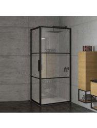 Douchecabine Riho Grid met Klapdeur 80x80 cm 6mm Helderglas Zwarte Profielen