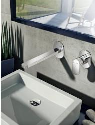Wastafelkraan Hotbath Friendo inbouw 3+3 systeem RVS Look| Tegeldepot.nl