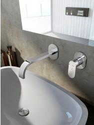 Wastafelkraan Hotbath Friendo inbouw 3+3 systeem / FP system RVS Look | Tegeldepot.nl