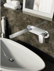 Wastafelmengkraan Hotbath Friendo inbouw 3+3 systeem RVS Look | Tegeldepot.nl