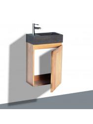 Fonteinkast Sanilux Wood Natuursteen Softclose deur 41x23x70cm Rechts draaiend