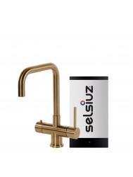 Kokendwaterkraan Selsiuz Steel Haaks Gold Inclusief Combi Extra Boiler