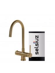 Kokendwaterkraan Selsiuz Steel Rond Gold Inclusief Combi Extra Boiler