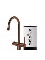Kokendwaterkraan Selsiuz Steel Rond Copper Inclusief Combi Extra Boiler