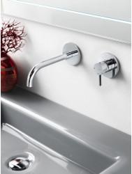 Wastafelmengkraan Hotbath Laddy twee rozetten 3+3 systeem RVS Look | Tegeldepot.nl