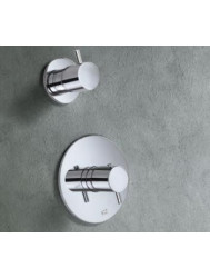 Douchethermostaat Hotbath Laddy inbouw 1-weg rond ⌀ 12cm RVS Look