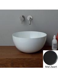 Ronde Wastafel Opbouw Salenzi Unica Round 40x20 cm Mat Zwart (inclusief bijpassende clickwaste)