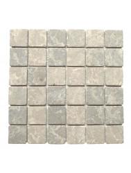 Mozaïek Parquet 5x5 Light Gray Tumble Marmer 30x30 cm (Prijs per 1m²)