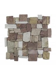 Mozaïek Random Yucatan Brown/Cream Marmer 30x30 cm (Prijs per 1m²)