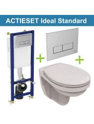 Aktieset Ideal Standard Toiletset met Ideal Standard Eurovit Pot en Chromen drukplaat