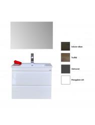 Badkamermeubelset Sanicare Q7 Twee Soft-Close Laden Greeploos 65 cm (alle kleuren, spiegel optioneel)