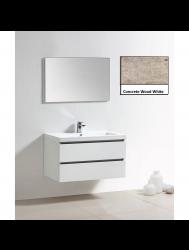 Badkamermeubelset Sanilux Trendline 100x47x50 cm 2 Kraangaten Concrete Wood White