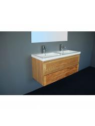 Badkamermeubelset Sanilux Wood Keramiek 120x47x50 cm Eikenhout (zonder kraangaten of met 2 kraangaten)