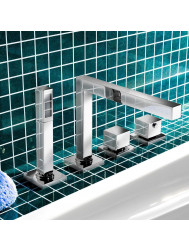 Badrandkraan Hotbath Bloke thermostatisch met uitloop 3-weg omstel Chroom