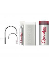 Quooker Cube Nordic Round Twintaps Steel met Combi+ Boiler