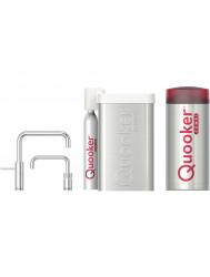 Quooker Cube Nordic Square Twintaps Steel met Combi + Boiler