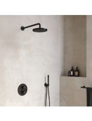 Regendoucheset Hotbath Cobber Thermostatische Inbouwset Geborsteld Nikkel