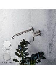 Badkraan Inbouw Mavesteel Rivo428 Mengkraan met Click Waste Glanzend Chroom (incl. inbouwdeel)
