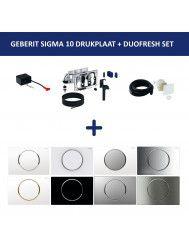 Bedieningsplaat Geberit Sigma 10 + DuoFresh Geurzuiveringssysteem Geborsteld RVS