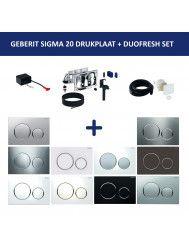 Bedieningsplaat Geberit Sigma 20 + DuoFresh Geurzuiveringssysteem Wit Met Glansverchroomde Designringen