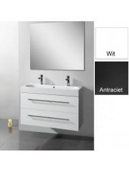Badkamermeubelset Sanilux Compactline 100x38x50 cm 1 of 2 Kraangaten (in twee kleuren leverbaar)