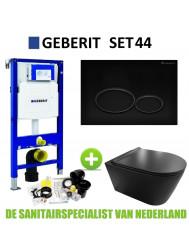 Geberit UP320 Toiletset set44 Civita Black Rimless Met Matzwarte Drukplaat